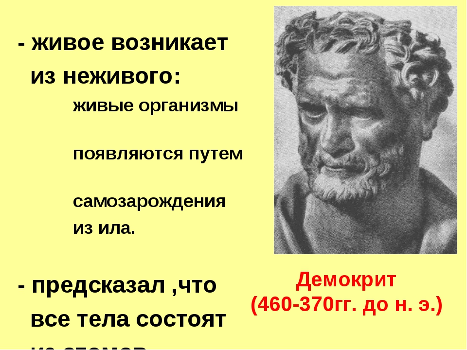 Демокрит (460-370гг. до н. э.) - живое возникает из неживого: живые организмы...