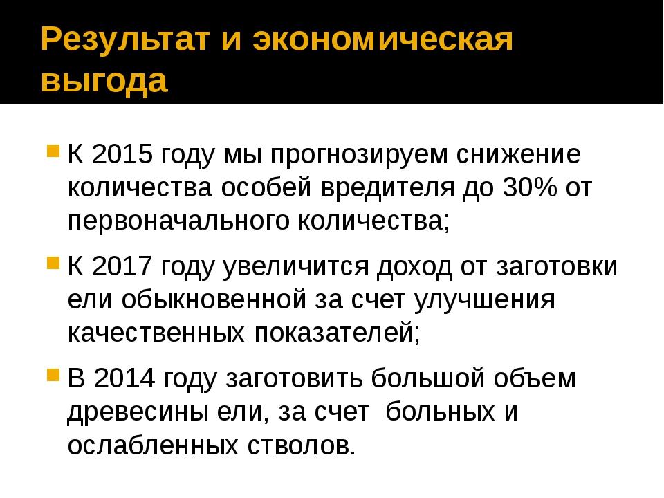 Результат и экономическая выгода К 2015 году мы прогнозируем снижение количес...