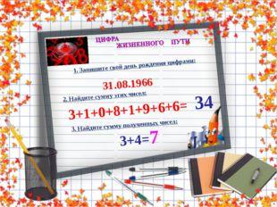 1. Запишите свой день рождения цифрами: 31.08.1966 2. Найдите сумму этих чисе