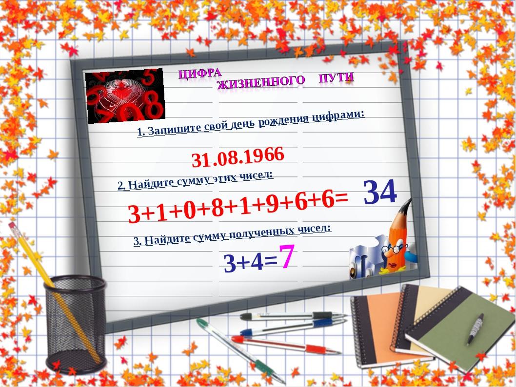 1. Запишите свой день рождения цифрами: 31.08.1966 2. Найдите сумму этих чисе...