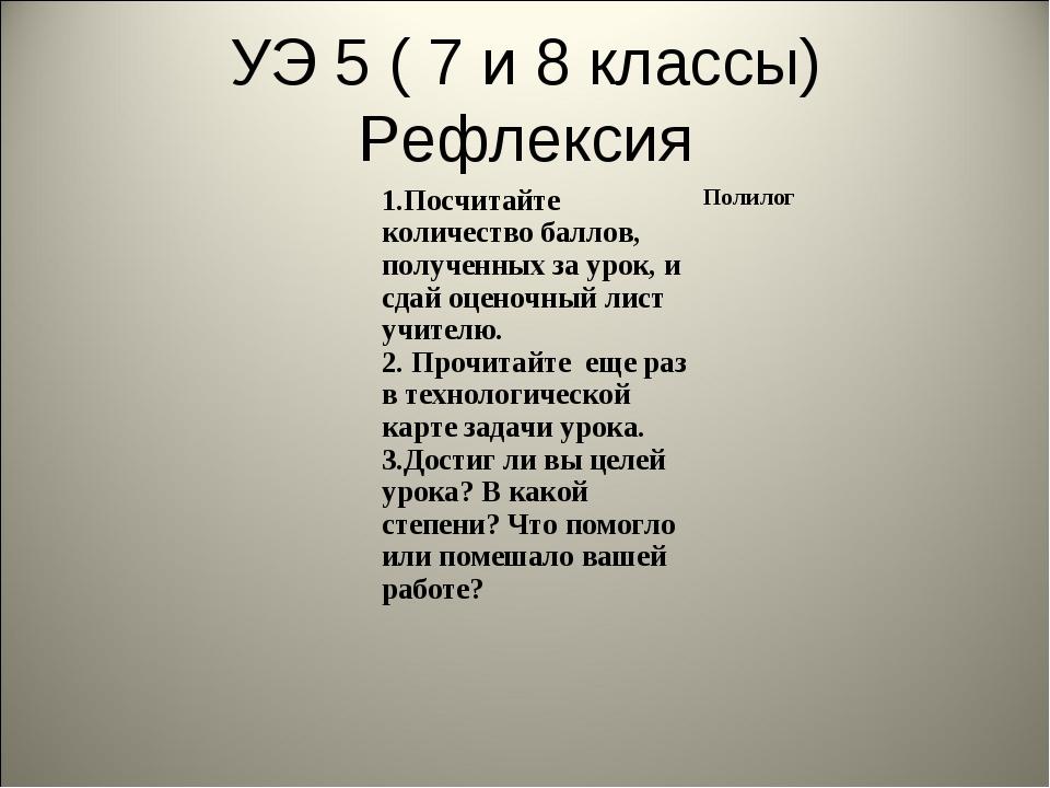 УЭ 5 ( 7 и 8 классы) Рефлексия 1.Посчитайте количество баллов, полученных за...