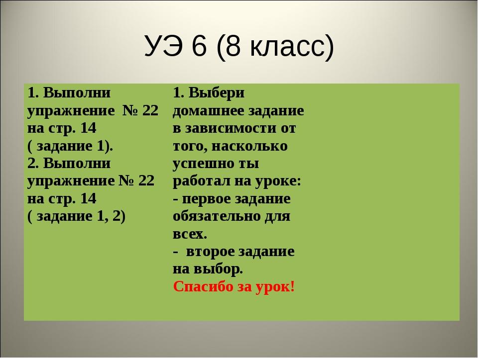 УЭ 6 (8 класс) 1. Выполни упражнение № 22 на стр. 14 ( задание 1). 2. Выполни...