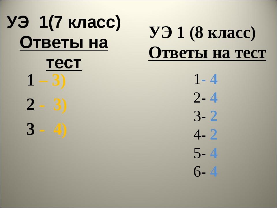 УЭ 1(7 класс) Ответы на тест 1 – 3) 2 - 3) 3 - 4) УЭ 1 (8 класс) Ответы на те...