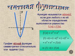 График чётной функции симметричен относительно оси ординат (oy). Функция назы