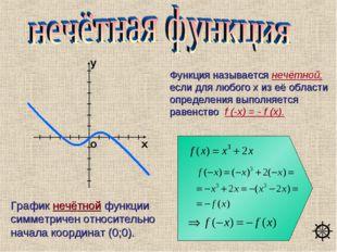 Функция называется нечётной, если для любого х из её области определения выпо