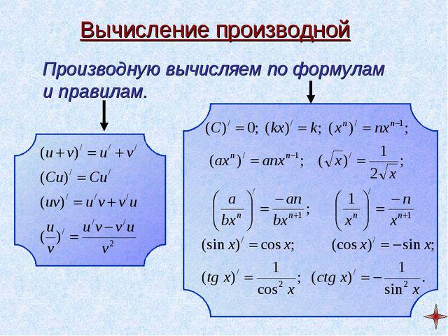 Вычисление производной Производную вычисляем по формулам и правилам.