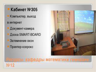 Ресурсы кафедры математики гимназии №12 Кабинет №305 Компьютер, выход в интер