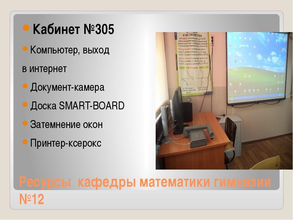 Ресурсы кафедры математики гимназии №12 Кабинет №305 Компьютер, выход в интер...