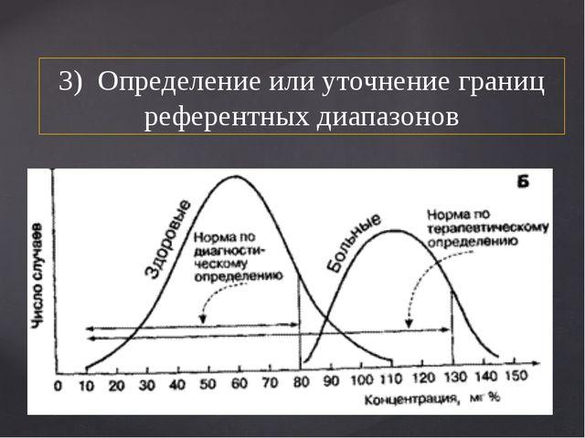 3) Определение или уточнение границ референтных диапазонов
