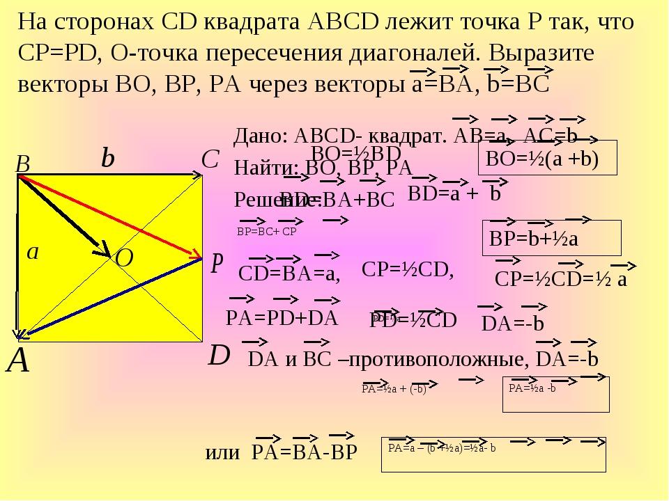 Дано: ABCD- квадрат. АВ=а, АС=b Найти: ВО, ВР, РА Решение: На сторонах СD ква...