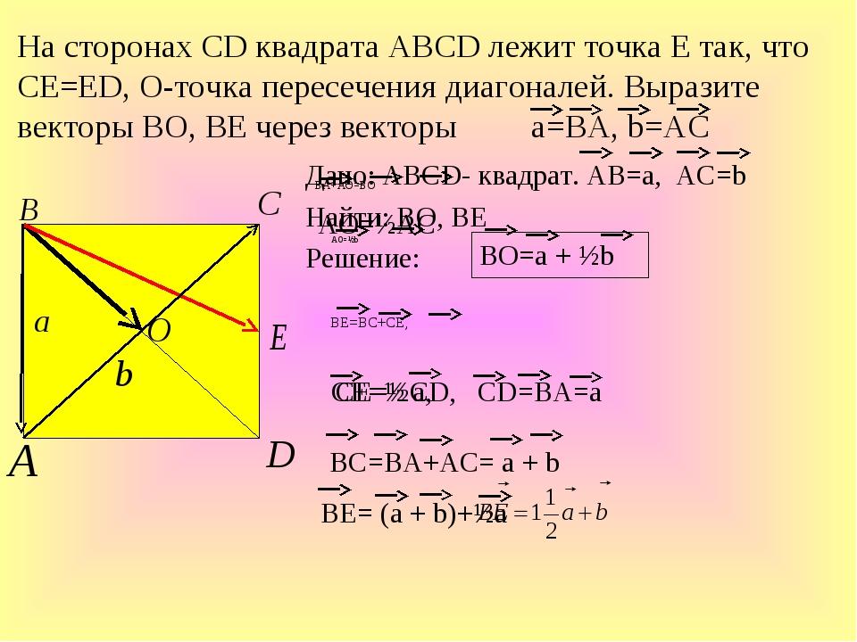 Дано: ABCD- квадрат. АВ=а, АС=b Найти: ВО, ВЕ Решение: На сторонах СD квадрат...