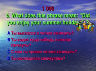"1 000 5. What does this phrase mean: ""Did you enjoy your summer holidays"" ? A"