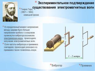 Экспериментальное подтверждение существования электромагнитных волн Генрих Ге