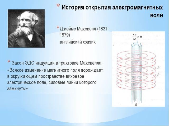 История открытия электромагнитных волн Закон ЭДС индукции в трактовке Максвел...