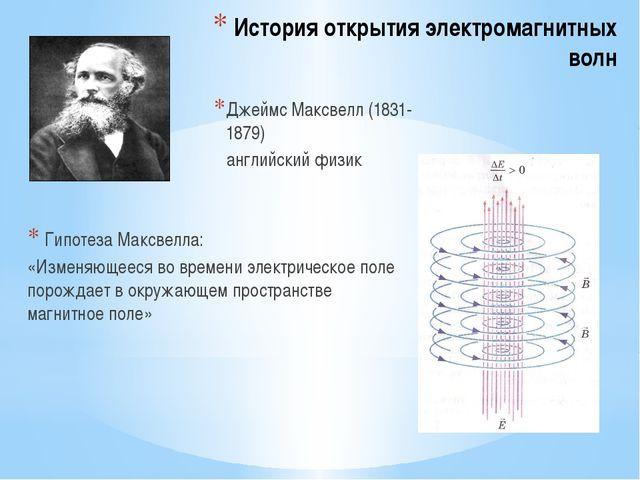 История открытия электромагнитных волн Гипотеза Максвелла: «Изменяющееся во в...