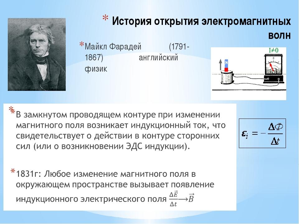 История открытия электромагнитных волн Майкл Фарадей (1791-1867) английский ф...