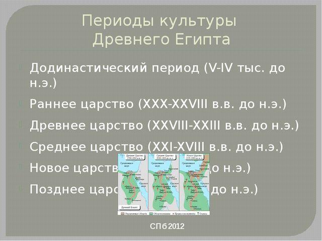 Периоды культуры Древнего Египта Додинастический период (V-IV тыс. до н.э.) Р...