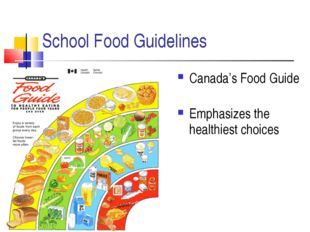 School Food Guidelines Canada's Food Guide Emphasizes the healthiest choices