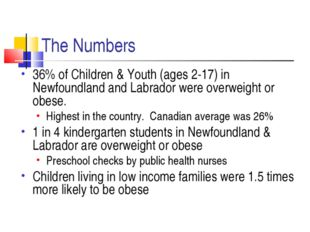 The Numbers 36% of Children & Youth (ages 2-17) in Newfoundland and Labrador