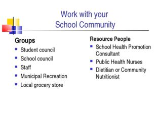 Work with your School Community Groups Student council School council Staff M