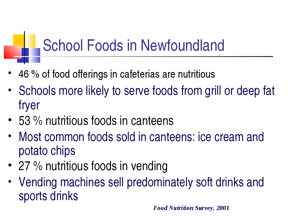 School Foods in Newfoundland 46 % of food offerings in cafeterias are nutrit...