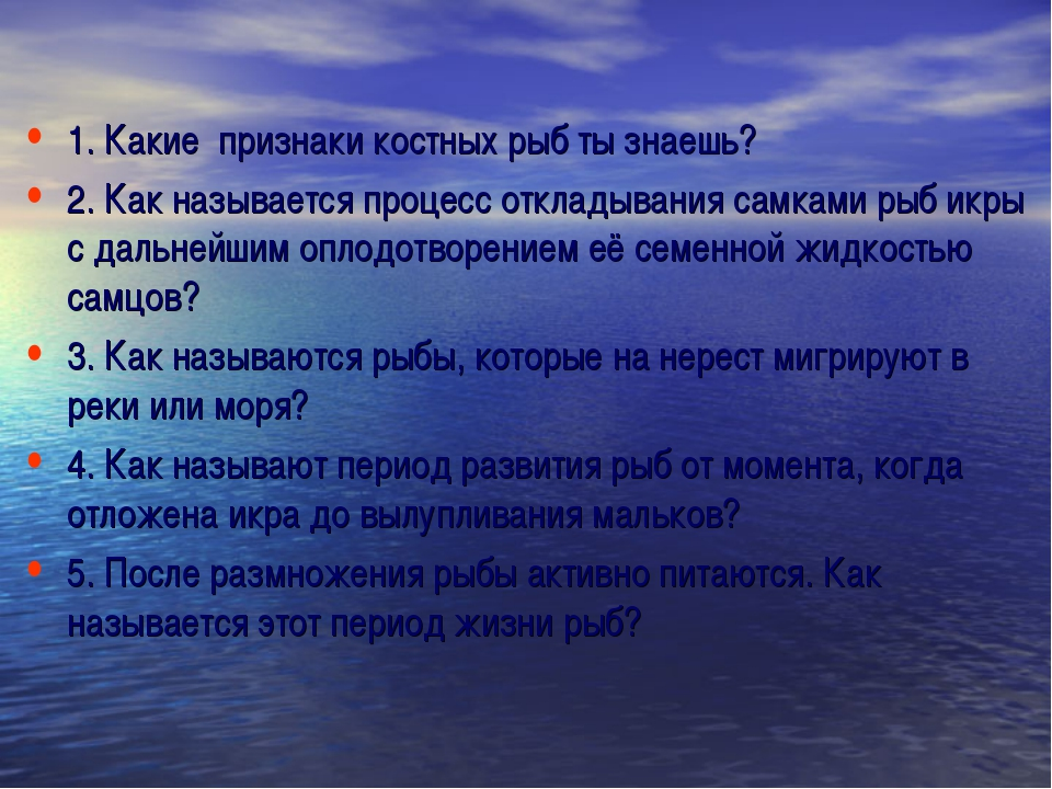 1. Какие признаки костных рыб ты знаешь? 2. Как называется процесс откладыван...