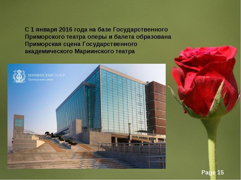 С1января2016года набазеГосударственного Приморского театра оперы ибале...