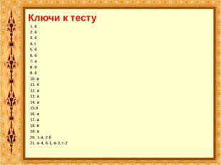 Ключи к тесту 1. б 2. б 3. б 4. г 5. б 6. б 7. а 8. б 9. б 10. в 11. б 12. а