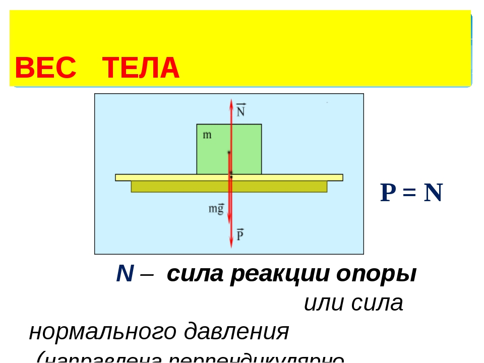ВЕС ТЕЛА P = N N – сила реакции опоры или сила нормального давления (направл...