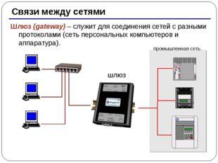 * Связи между сетями Шлюз (gateway) – служит для соединения сетей с разными п