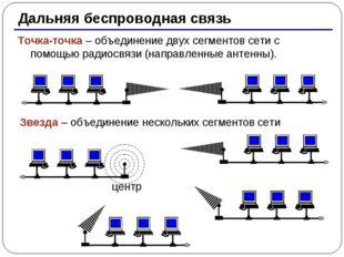 * Дальняя беспроводная связь Точка-точка – объединение двух сегментов сети с