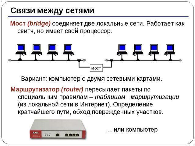 * Связи между сетями Мост (bridge) соединяет две локальные сети. Работает как...