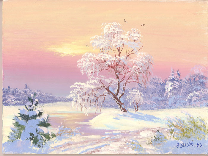 Картина: зимний пейзаж Зимний вечер 40х60 холст масло 6000 руб.