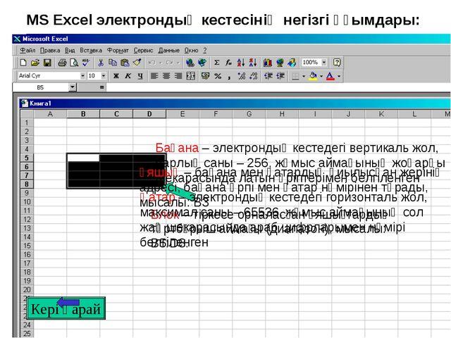 MS Excel электрондық кестесінің негізгі ұғымдары: Кері қарай Қатар – электрон...