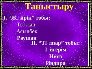 """Таныстыру І. """"Жүйрік"""" тобы: Тоғжан Асылбек Раушан ІІ. """"Тұлпар"""" тобы: Әйгерім"""