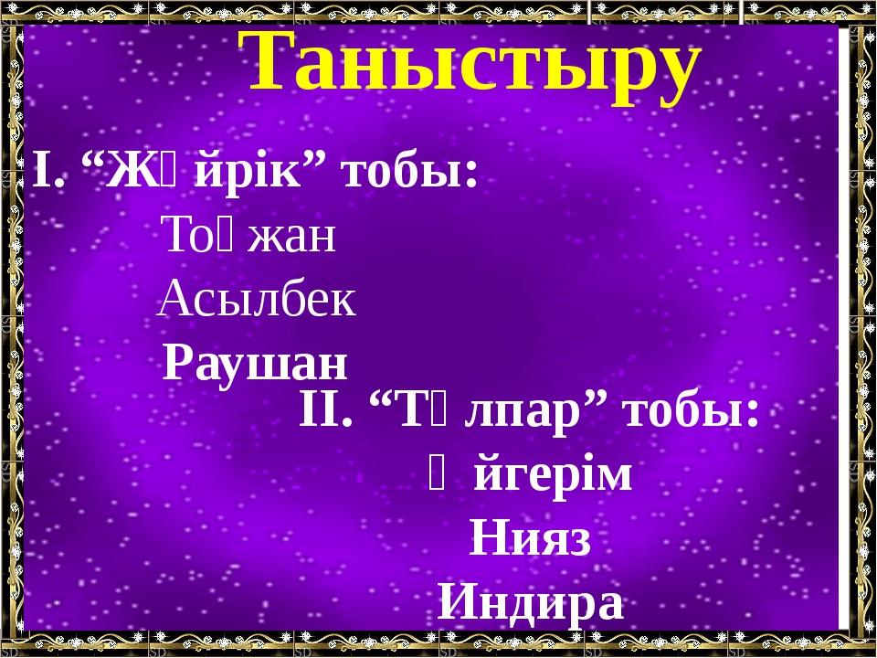 """Таныстыру І. """"Жүйрік"""" тобы: Тоғжан Асылбек Раушан ІІ. """"Тұлпар"""" тобы: Әйгерім..."""