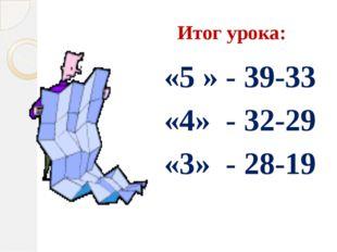 Итог урока: «5 » - 39-33 «4» - 32-29 «3» - 28-19