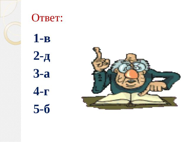 Ответ: 1-в 2-д 3-а 4-г 5-б