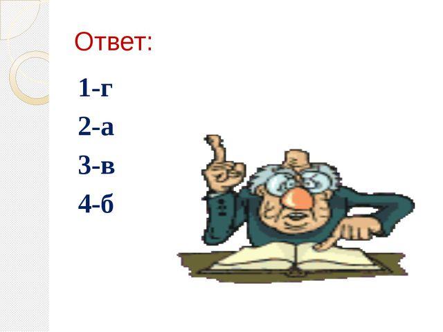 Ответ: 1-г 2-а 3-в 4-б