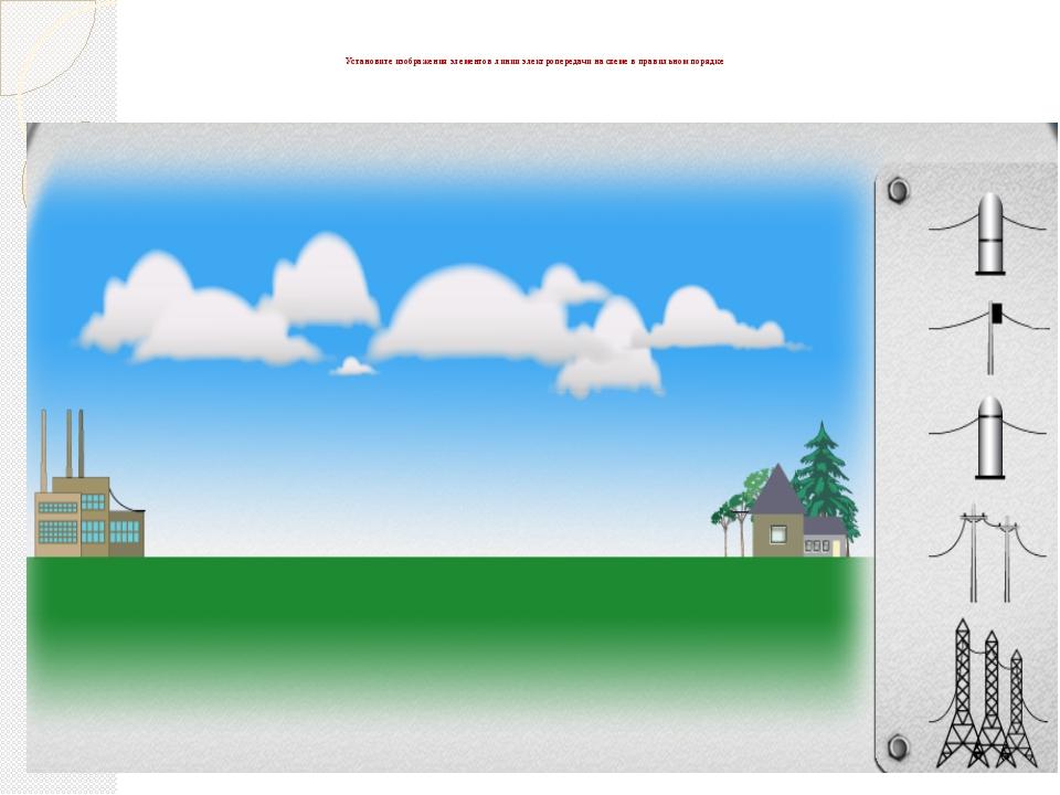Установите изображения элементов линии электропередачи на схеме в правильном...