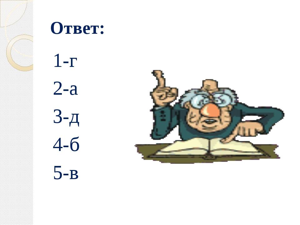 Ответ: 1-г 2-а 3-д 4-б 5-в