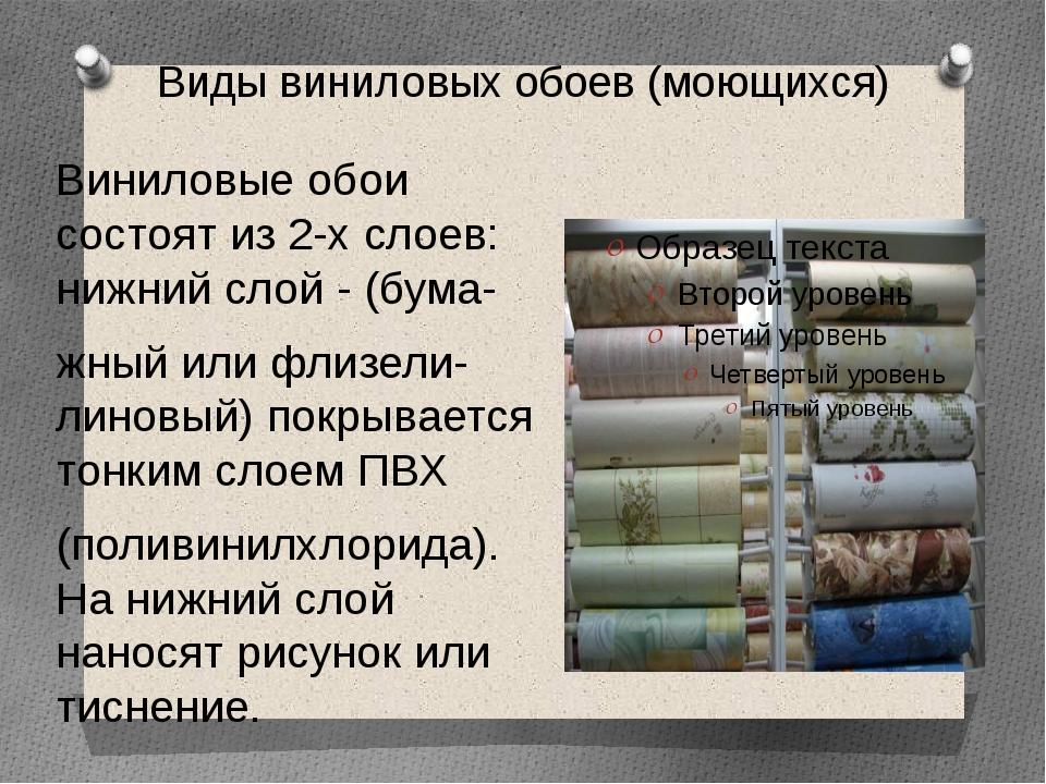 Виды виниловых обоев (моющихся) Виниловые обои состоят из 2-х слоев: нижний с...