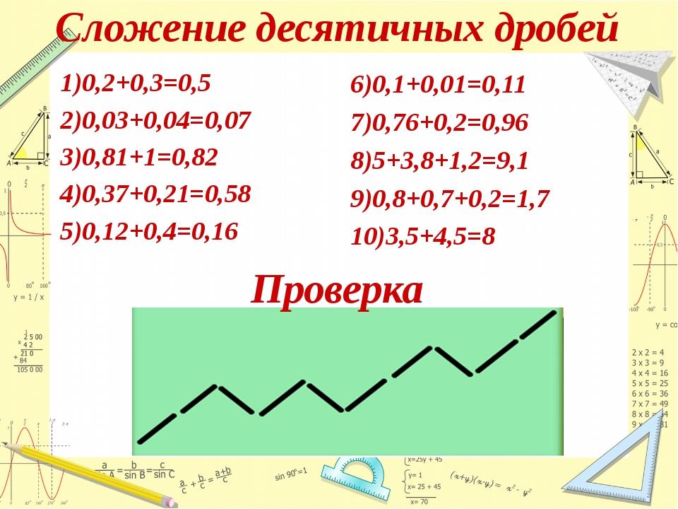 Сложение десятичных дробей 1)0,2+0,3=0,5 2)0,03+0,04=0,07 3)0,81+1=0,82 4...
