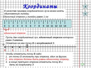 Координаты В качестве примера координатного луча можно взять обыкновенную лин