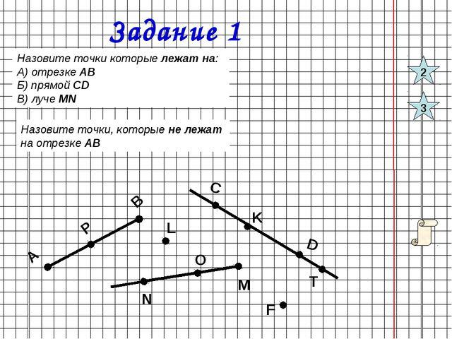 Задание 1 Назовите точки которые лежат на: А) отрезке АВ Б) прямой СD В) луче...