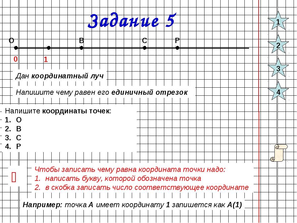 Задание 5 О 0 1 В С Р Дан координатный луч Напишите чему равен его единичный...