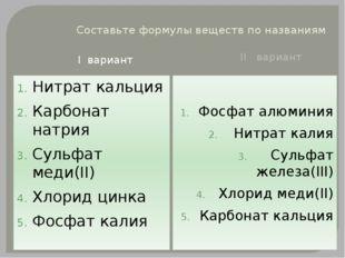 Составьте формулы веществ по названиям I вариант II вариант Нитрат кальция Ка