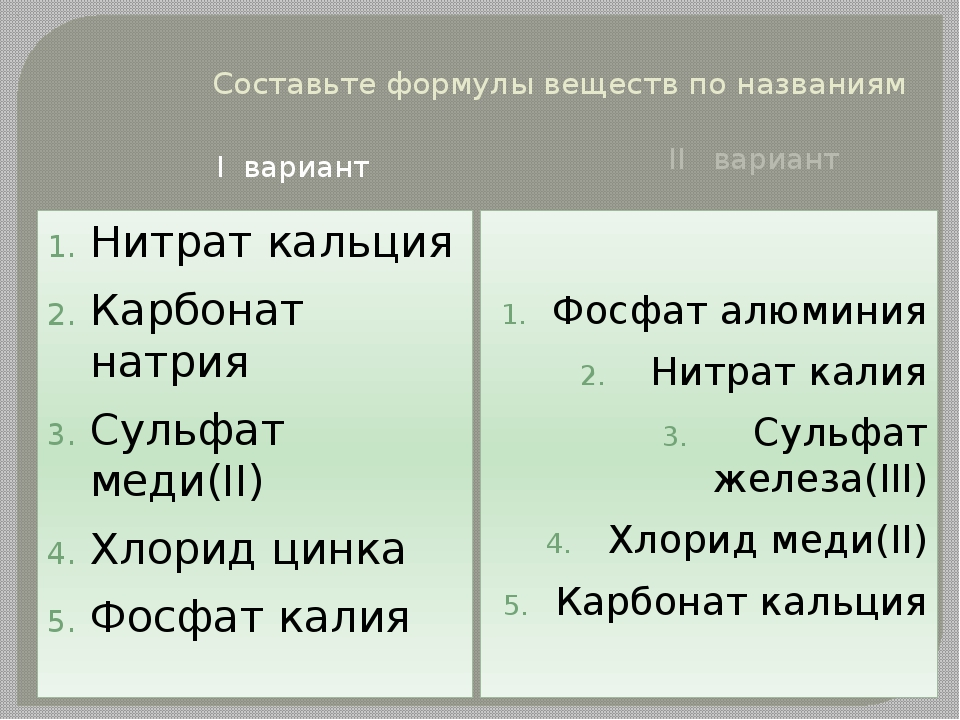 Составьте формулы веществ по названиям I вариант II вариант Нитрат кальция Ка...
