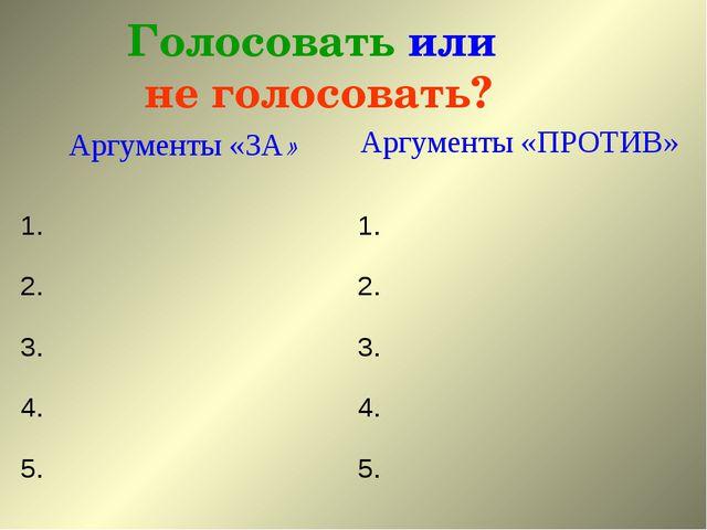 Голосовать или не голосовать? Аргументы «ЗА»Аргументы «ПРОТИВ» 1.1. 2.2. 3...