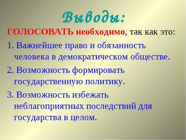 Выводы: ГОЛОСОВАТЬ необходимо, так как это: 1. Важнейшее право и обязанность...